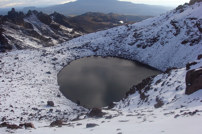The Amazing Majestic Views of Mount Kenya The Summit Peaks, Lake Michaelson, Glaciers Lewis, Mackinder,Rivers Liki North and Liki South